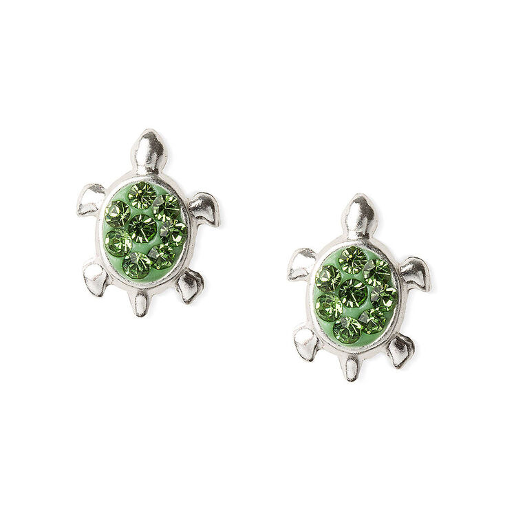 Sterling Silver Embellished Turtle Stud Earrings - Green,