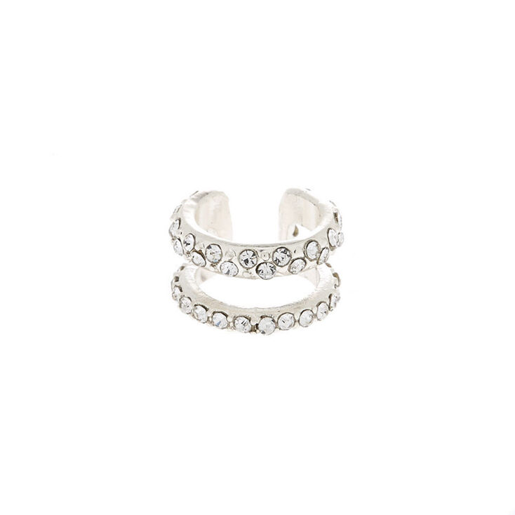 Silver Crystal Double Row Ear Cuff,