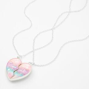 Colliers à pendentif cœur fendu avec dégradé de couleurs pastel Best Friends - Lot de 2,