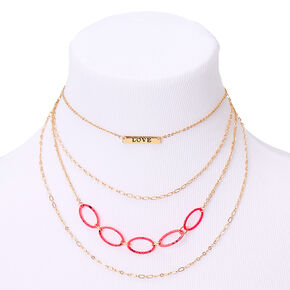 Gold Speckled Chain Link Multi Strand Necklace - Pink,