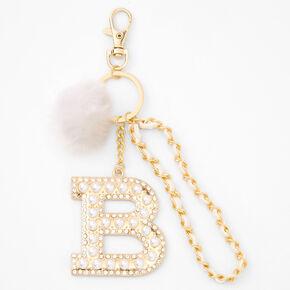 Gold Bling Initial Pom Pom Keyring - White, B,