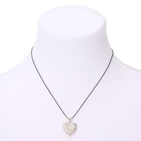 Silver Filigree Heart Locket Pendant Necklace,