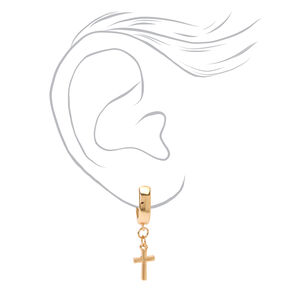 Gold 15MM Cross Huggie Hoop Earrings,
