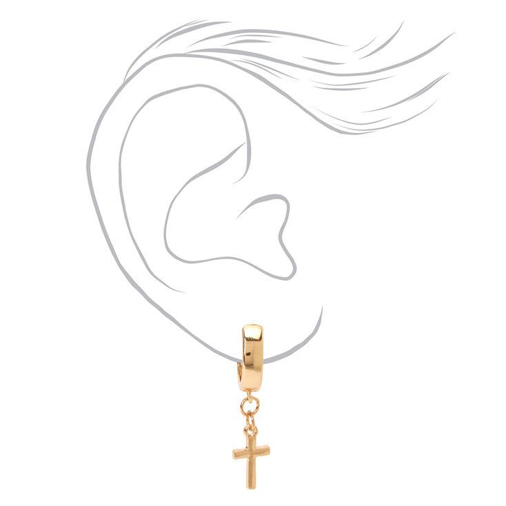 Gold 15MM Cross Huggie Hoop Earrings,