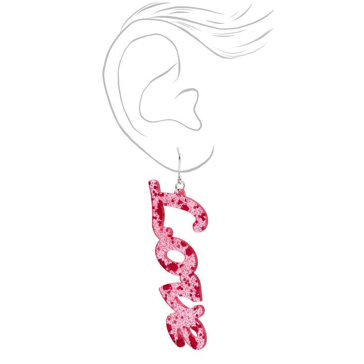 Love Script Glitter Drop Earrings,