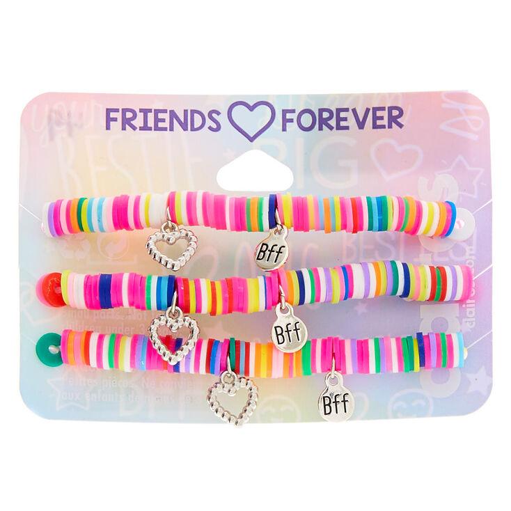 Rainbow Disc Heart Charm Stretch Friendship Bracelets - 3 Pack,