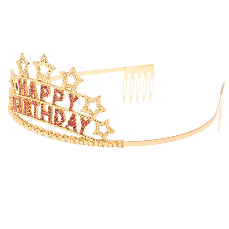 Claire's Club Happy Birthday Tiara - Gold,