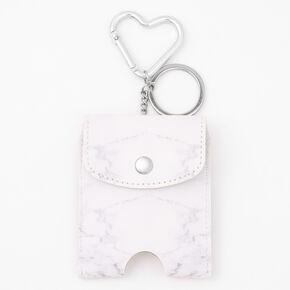Marble Hand Sanitiser Pouch Keychain - White,