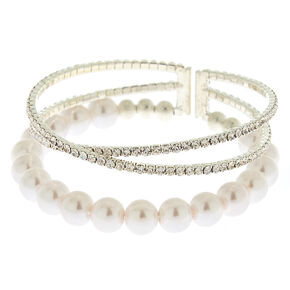 Silver Rhinestone & Pearl Cuff Bracelet,