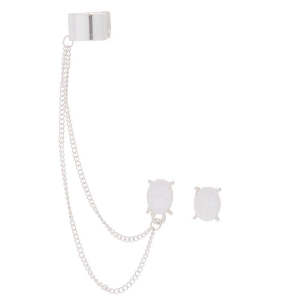Claire's - moon stone connector earrings - 1