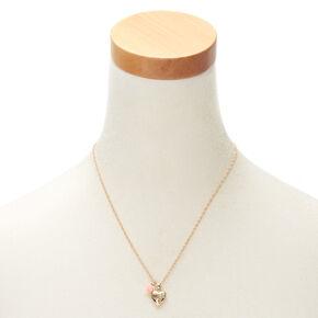 Gold Engraved  Mini Heart Locket Pendant Necklace,