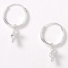 Hoop Earrings Silver Hoop Earrings with Charm Silver Hoop Dangle Earrings Small Hoop Earrings Hoops Hoop Earrings with Beads
