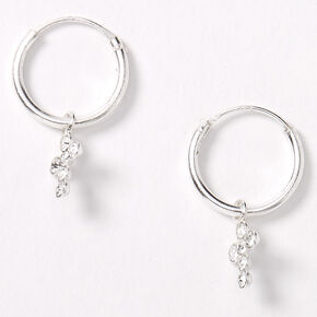 Sterling Silver 10MM Cross Charm Huggie Hoop Earrings,