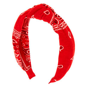Bandana Knotted Headband - Red,