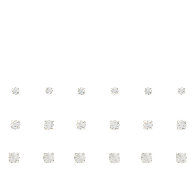 Silver Graduated Embellished Square Stud Earrings - 9 Pack,