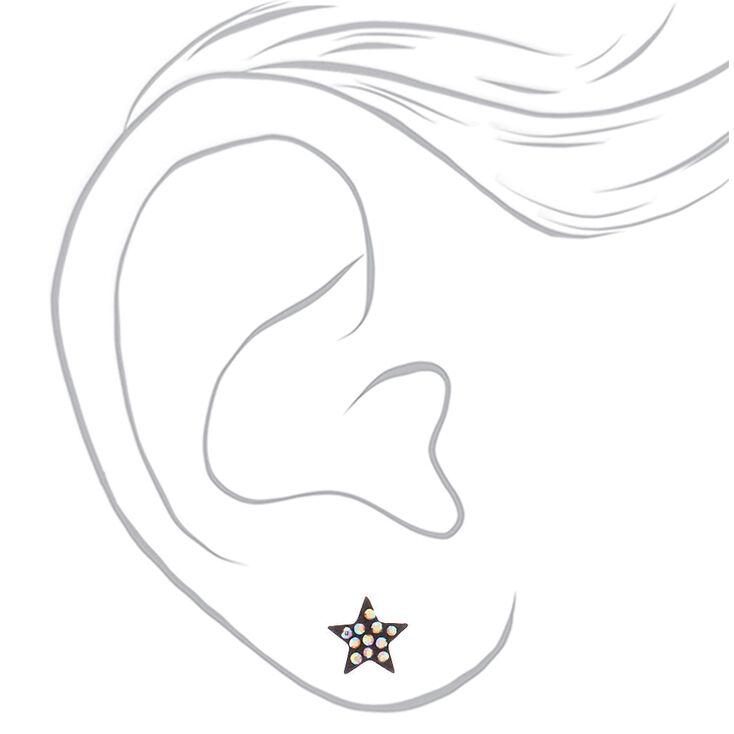 Mixed Metal Celestial Stud Earrings - 6 Pack,