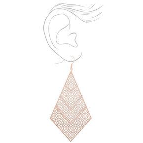 "Rose Gold 3"" Filigree Diamond Drop Earrings,"