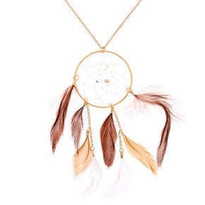 Long collier à pendentif attrape-rêves couleur dorée - Marron,