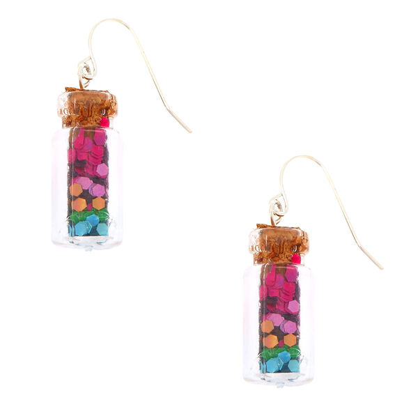 "Claire's - 1"" rainbow confetti bottle drop earrings - 1"