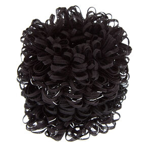Small Lurex Loop Hair Scrunchies - Black, 4 Pack,