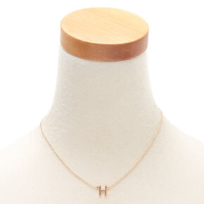 Gold Stone Initial Pendant Necklace - H,