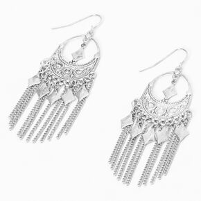 """Silver 2.5"""" Boho Western Fringe Drop Earrings,"""