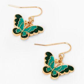 """Gold 1"""" Blue & Green Butterfly Drop Earrings,"""