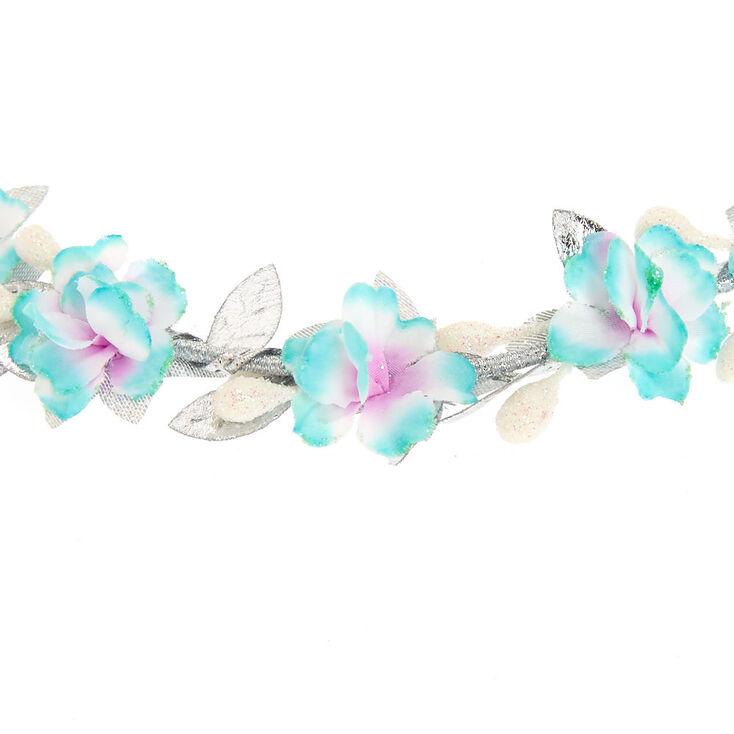 Mint & Silver Flower Crown Headwrap,