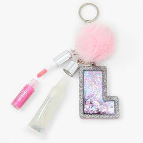Initial Lip Gloss Keyring - Pink, L,