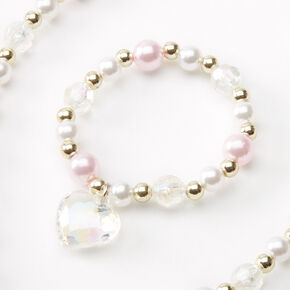 Claire's Club Pearl Heart Jewellery Set - Pink, 2 Pack,
