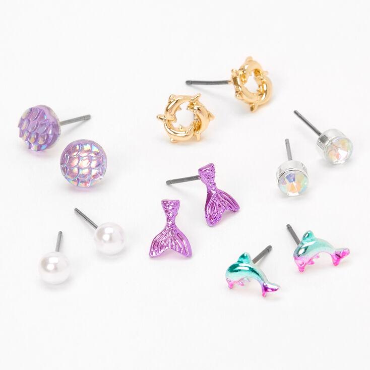 Iridescent Mermaid Stud Earrings - Purple, 6 Pack,