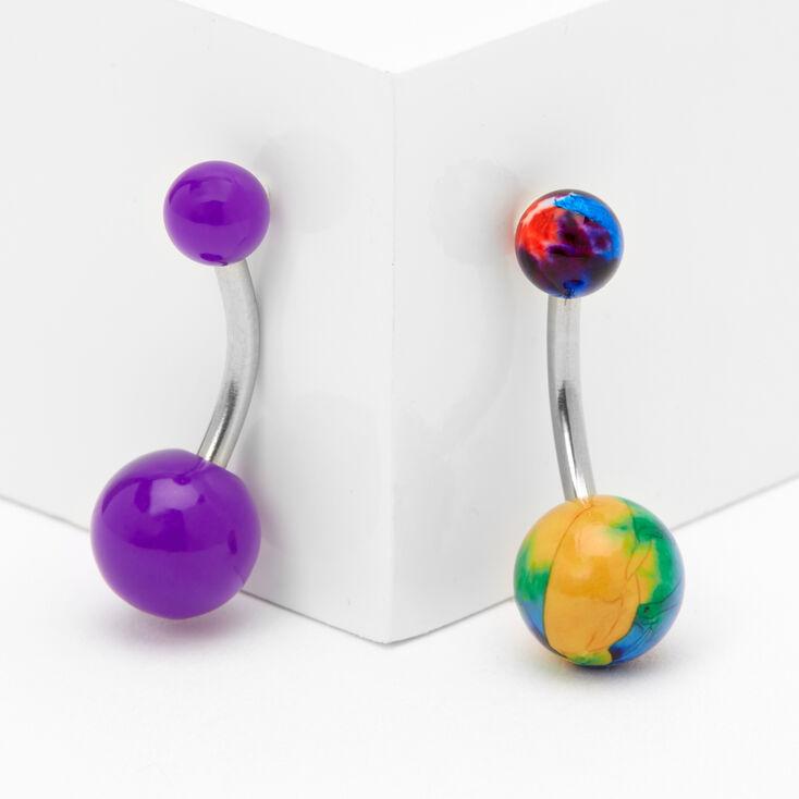 14G Neon Tie Dye Belly Rings - Purple, 2 Pack,