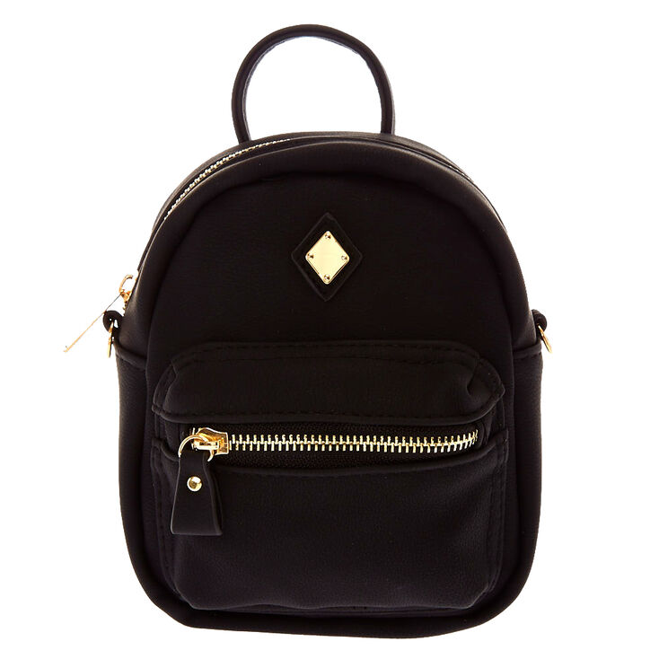 7769f213b5fa Mini Faux Leather Black Crossbody Backpack | Claire's US