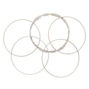 Lot de 5bracelets fins bangle à motif en filigrane couleur argenté,