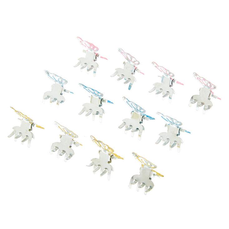 Glitter Butterfly Mini Hair Claws - Rainbow, 12 Pack,