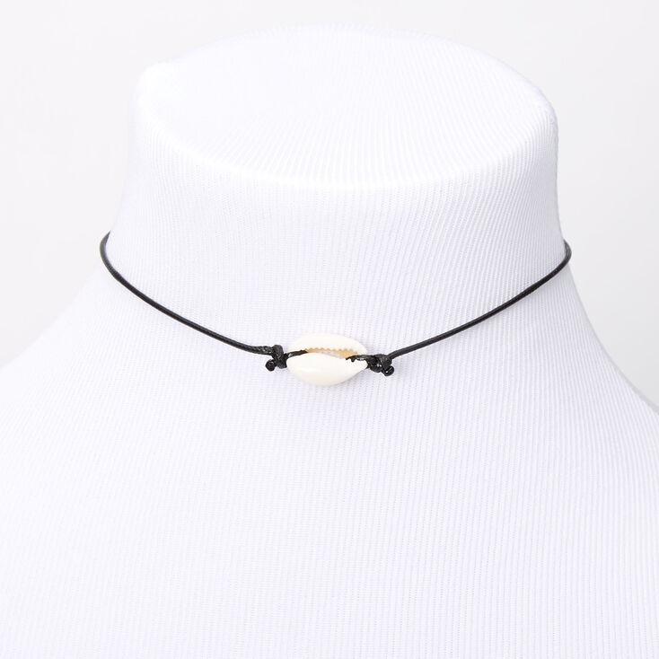 Single Cowrie Shell Choker Necklace - Black,