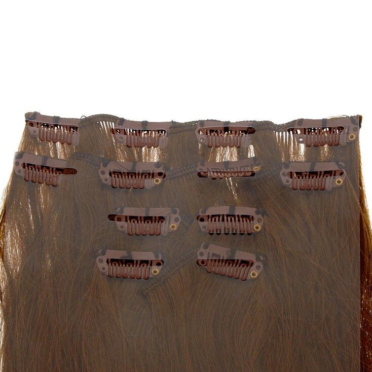Extensions en cheveux synthétiques bruns raides à clip - Lot de 4,