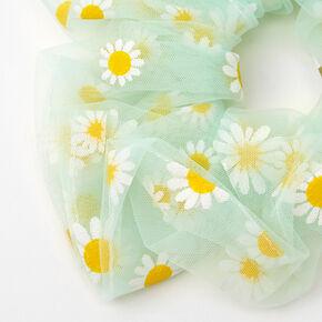 Giant Sheer Mesh Daisy Hair Scrunchie - Mint,