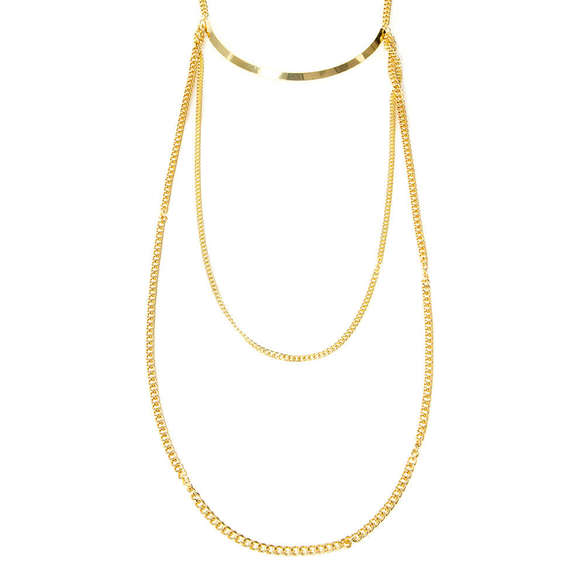 Unique Gold Collar and Chains Multi-Strand Necklace | Claire's US YK99