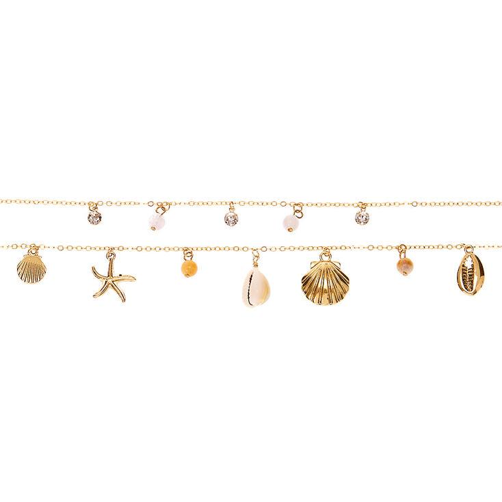 Collier multi-rangs coquillage couleur doré,