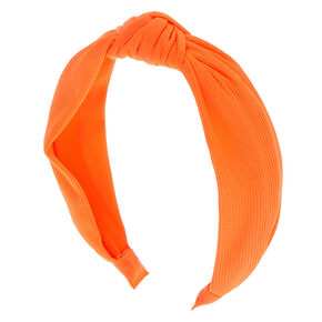 Ribbed Knotted Headband - Neon Orange,