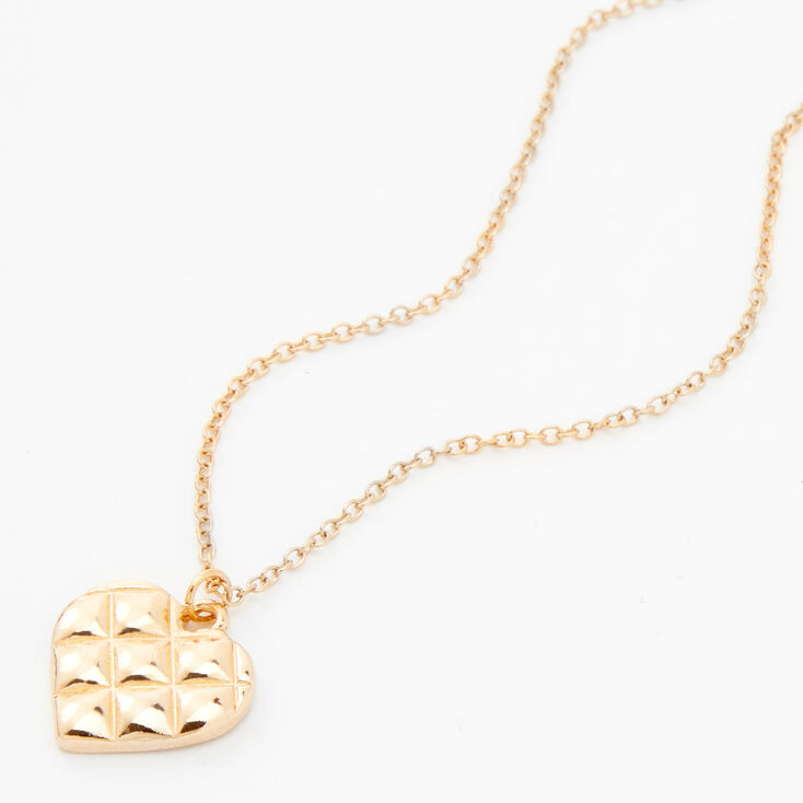 Gold Quilted Heart Pendant Necklace,