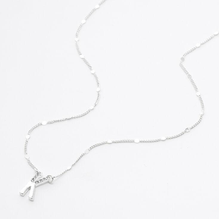 Silver Half Stone Initial Pendant Necklace - K,