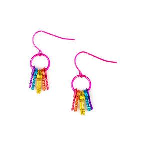 Rainbow Metallic Keys Hoop Drop Earrings,