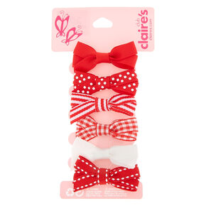 Claire's Club Hair Bow Clips - Red, 6 Pack,