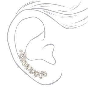 """Silver 1.5"""" Crystal Fan Ear Crawler Earrings,"""