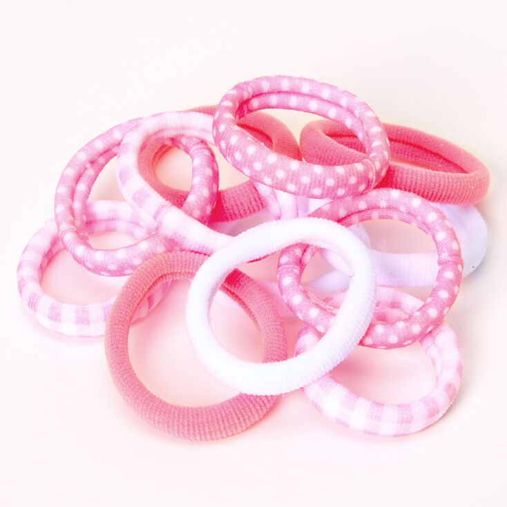 Claire's Club Rolled Hair Ties - Pink, 12 Pack,