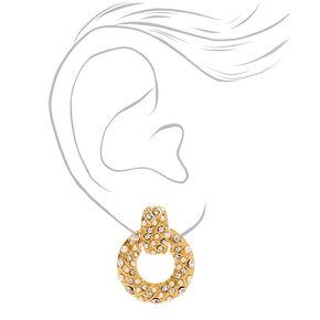 Pendantes à clip heurtoir de porte circulaires en perles d'imitation et strass 2,5cm couleur dorée,