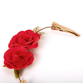 Gold Rose & Leaf Hair Swag - Red,