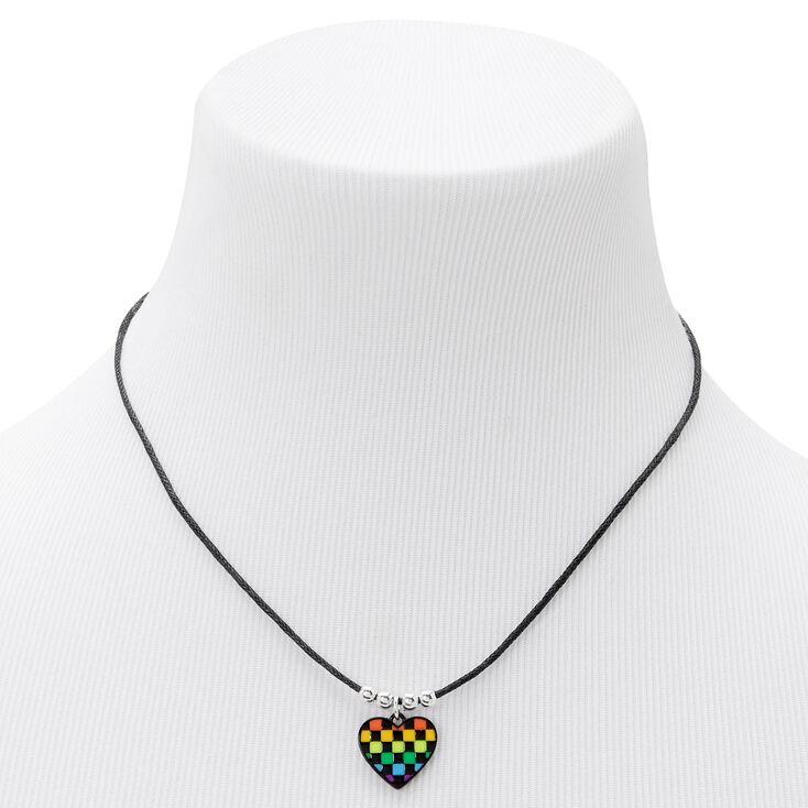Checkerboard Heart Black Cord Choker Necklace,